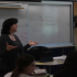 Jewish text teacher Rabbi Janet Ozur Bass engages in discussion while teaching her eighth grade class.