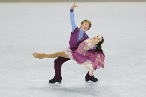 Eliana Gropman and her partner perform at an ice dancing competition.