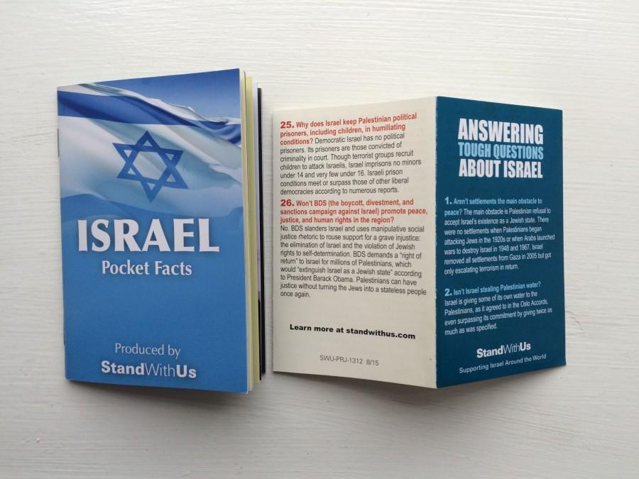 During her presentation, StandWithUs representative Miri Kornfeld handed out information pamphlets about Israel.