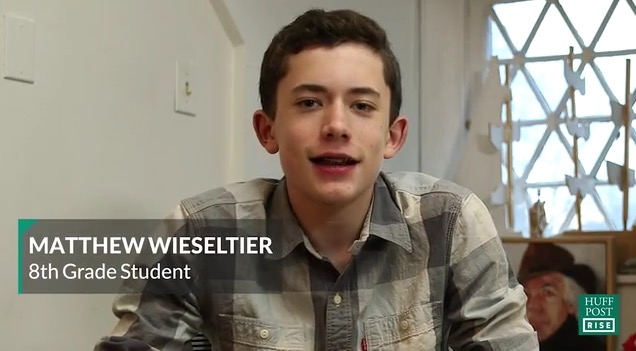 Matthew+Wieseltier+in+his+Huffington+Post+video%2C+%22Donald+Trump+op-ed+by+13-year-old+8th+grade+student+Matthew+Wieseltier%2C%22+which+garnered+13%2C000+likes+and+8%2C221+shares+on+Facebook.+