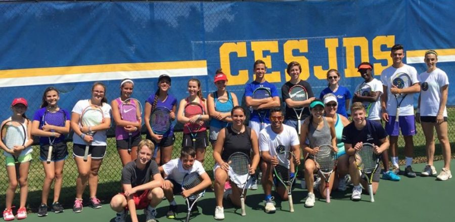 JDS tennis players at a practice with the Israeli tennis players the day after the exhibition.