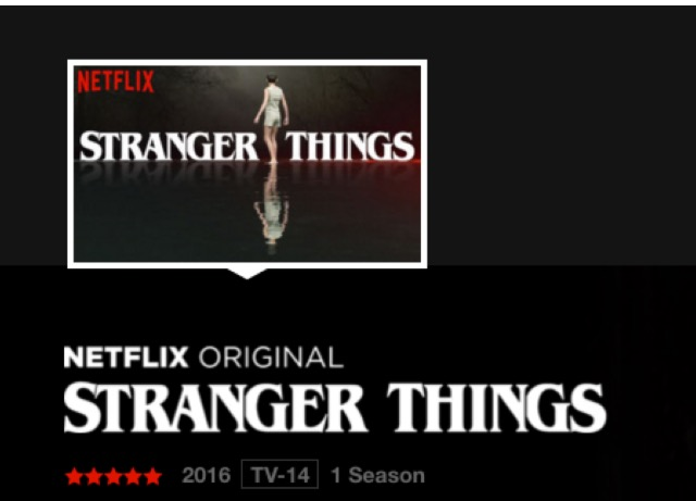 "Cover picture for five star Netflix original series ""Stranger Things."""