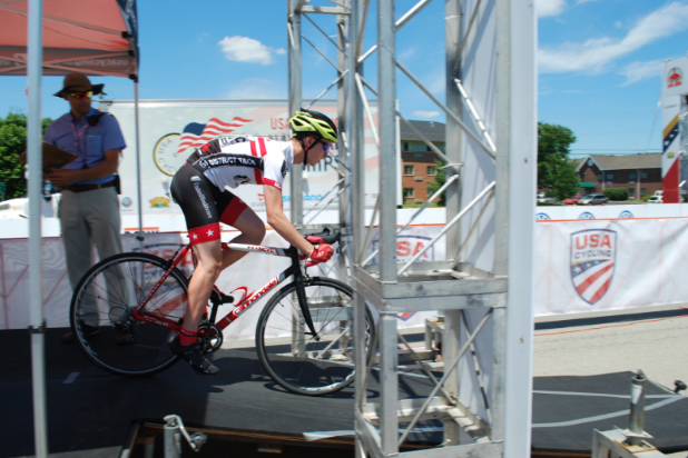 Freshman Sam Goldberg launches off the ramp at the Cycling Road Amatuer National Championships Time Trial.
