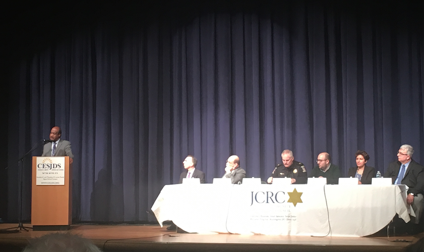 A+panel+of+Montgomery+County+officials%2C+leaders+of+Jewish+advocacy+groups+and+Head+of+School+Rabbi+Mitchel+Malkus+spoke+in+the+theater+on+Jan.+4.