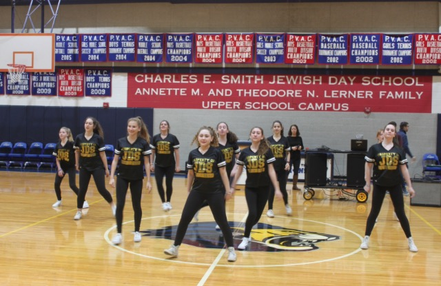The high school dance team performs at Kabbalat Shabbat on Jan. 6.