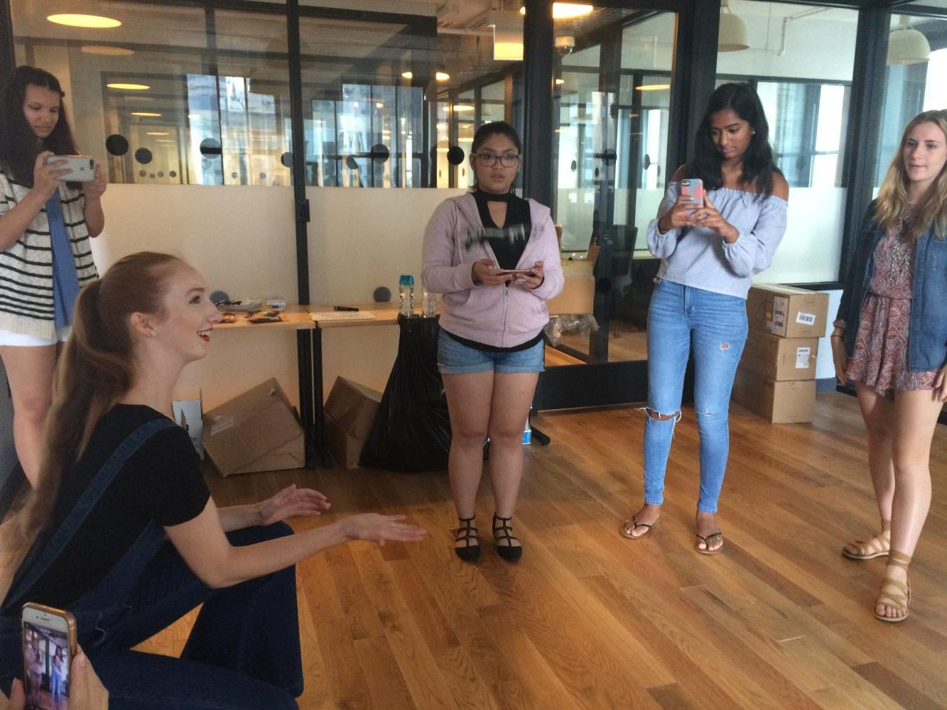 In the second week of the camp, the girls at Kode with Klossy took a break from coding to learn how to fly small drones in small groups. The focus of the day's lesson was coding in Virtual Reality, and the drones represented another new and currently advancing field of technology.