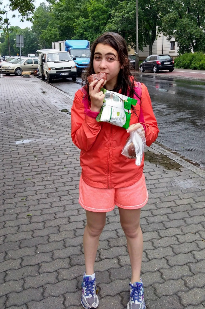 Junior Selah Bickel takes a bite out of the only kosher