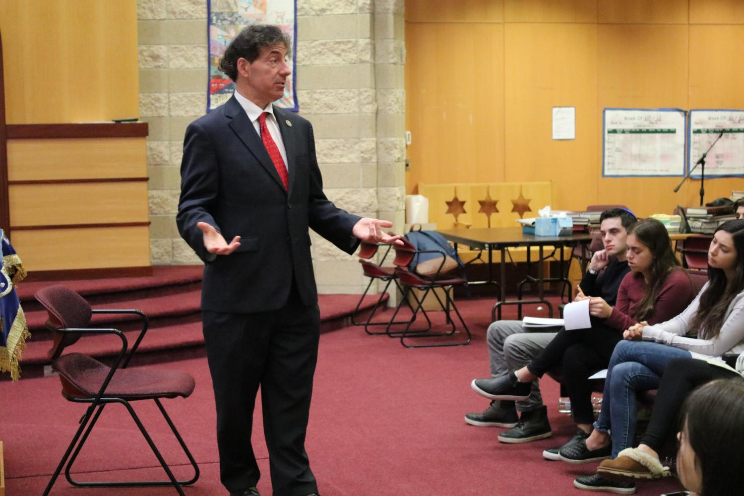 Rep. Jamie Raskin speaks about his path to candidacy, gun control and education policy among other key issues in the Feith Beit Midrash on Monday, Oct. 16. Raskin represents Maryland's 8th Congressional District, which encompasses  much of Montgomery County, including JDS.