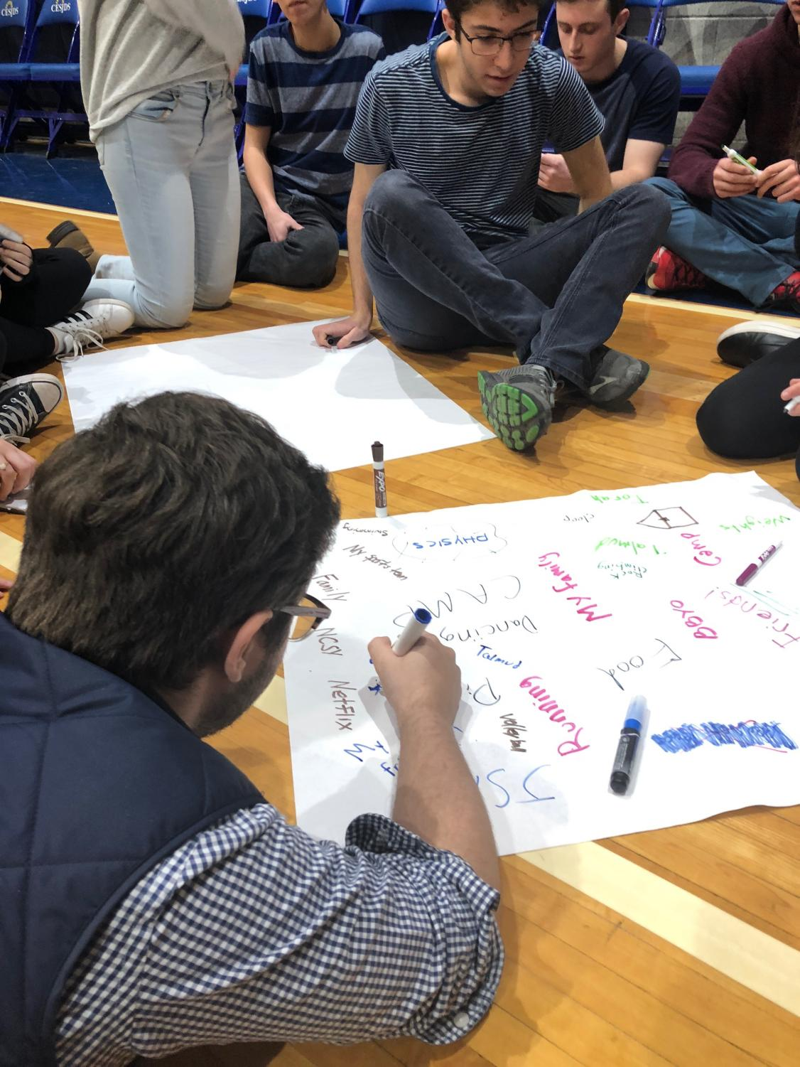 During the workshop, juniors write down what makes them feel supported. Umttr strives to raise awareness about mental health through activities that come to some sort of positive conclusion, such as this one.