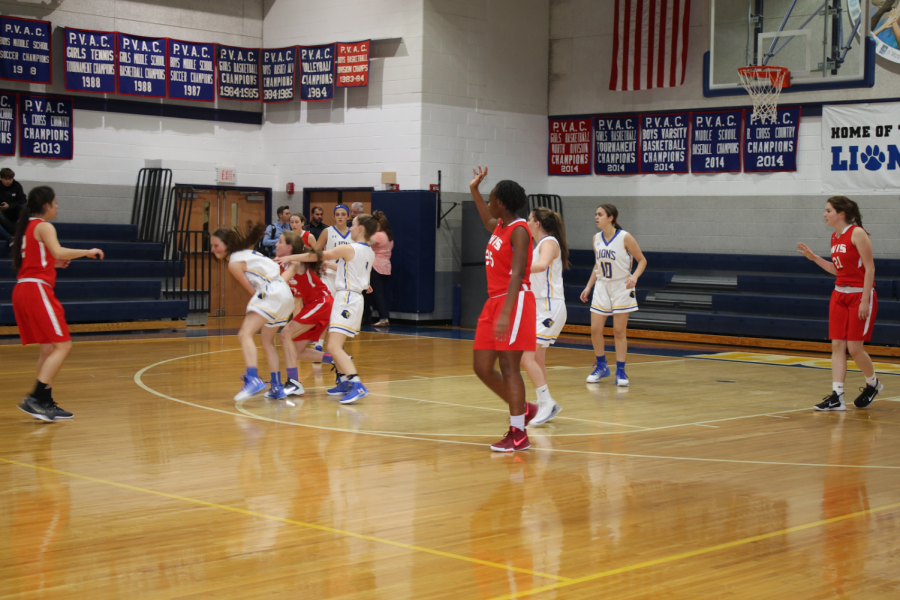 Leading scorer Brooke Cohen fights to avoid a steal from the Red Devils, as freshman Abby Alter backs her up.
