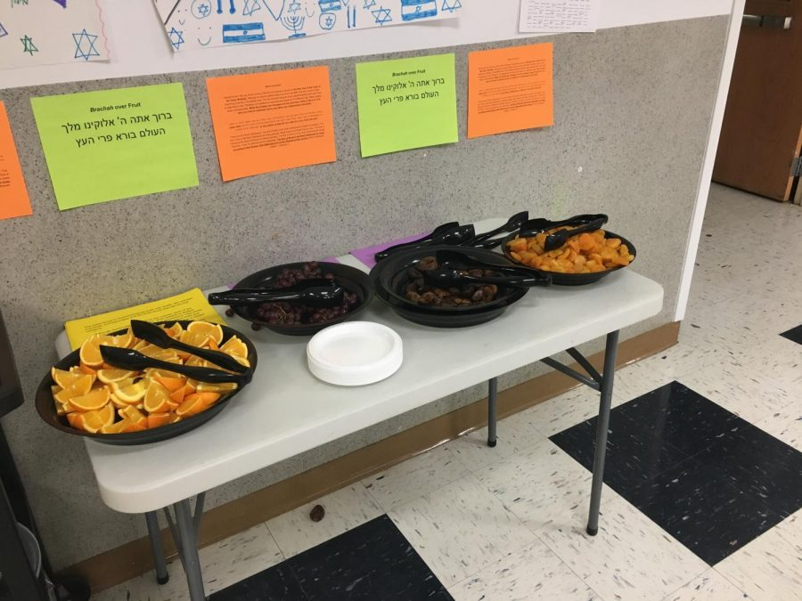 Orange slices, red grapes, dried figs and dried apricots were available in the CESJDS cafeteria for students to celebrate Tu B'Shvat on Jan. 31 during both high school and middle school lunches.