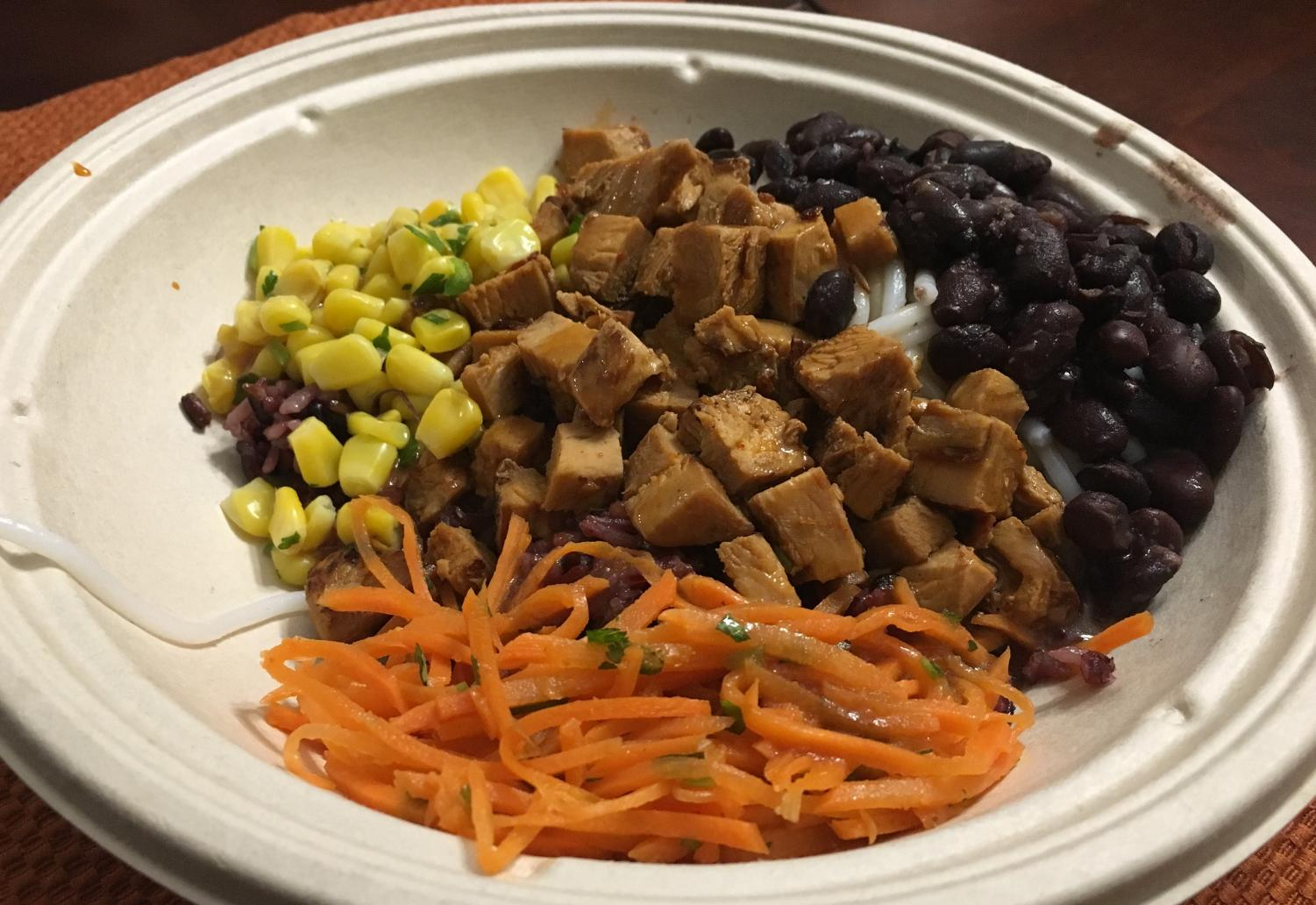 Bibibop serves tasty Korean-style food at low prices. Its diverse menu gives customers multiple ways to build their bowls, including purple rice and kimchee.