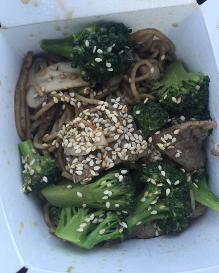 The sesame garlic stir fry offers patrons protein and vegetables that are worth the price.