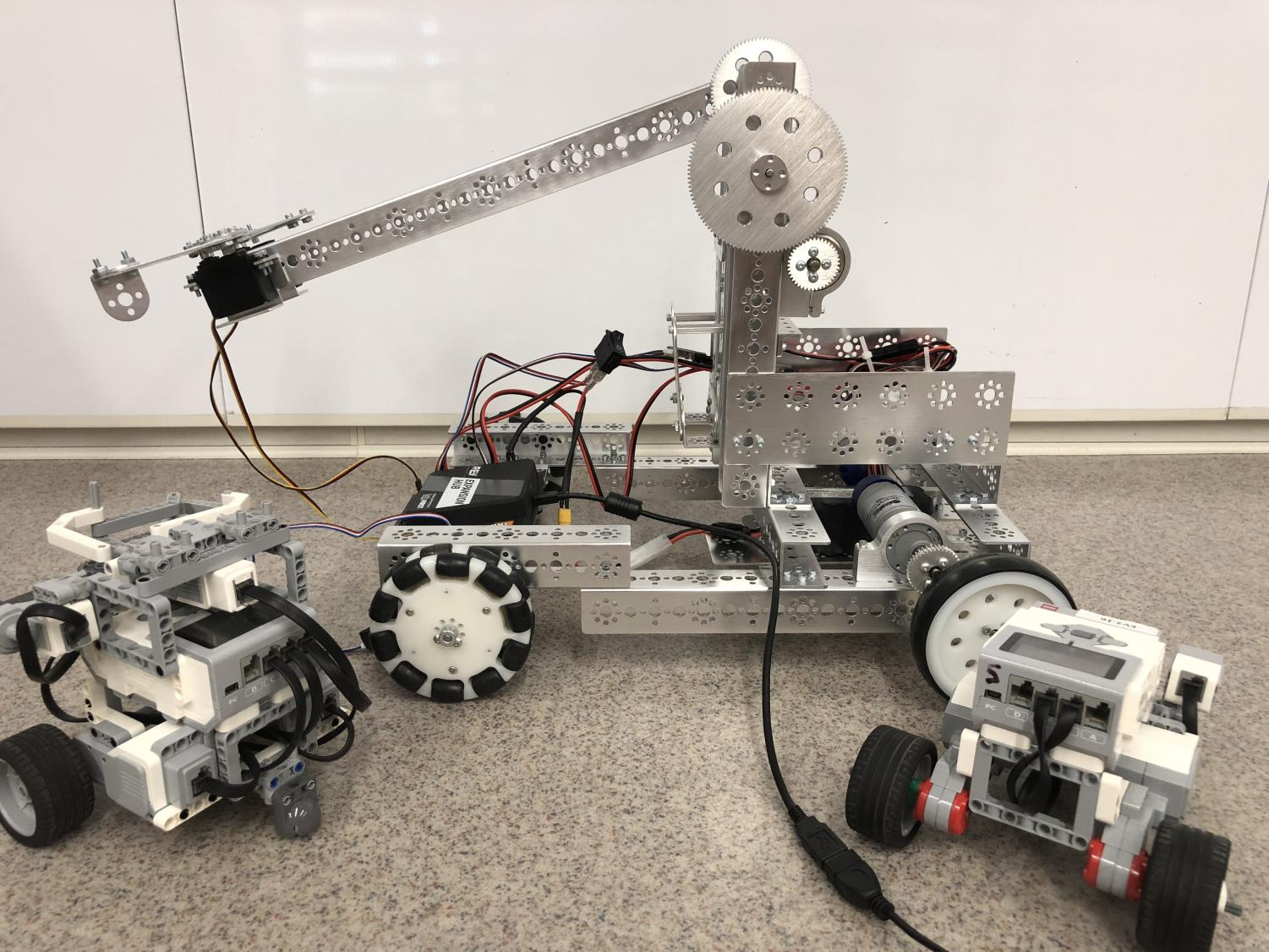 Students will have the ability to build robots such as the ones pictured in the new elective course.