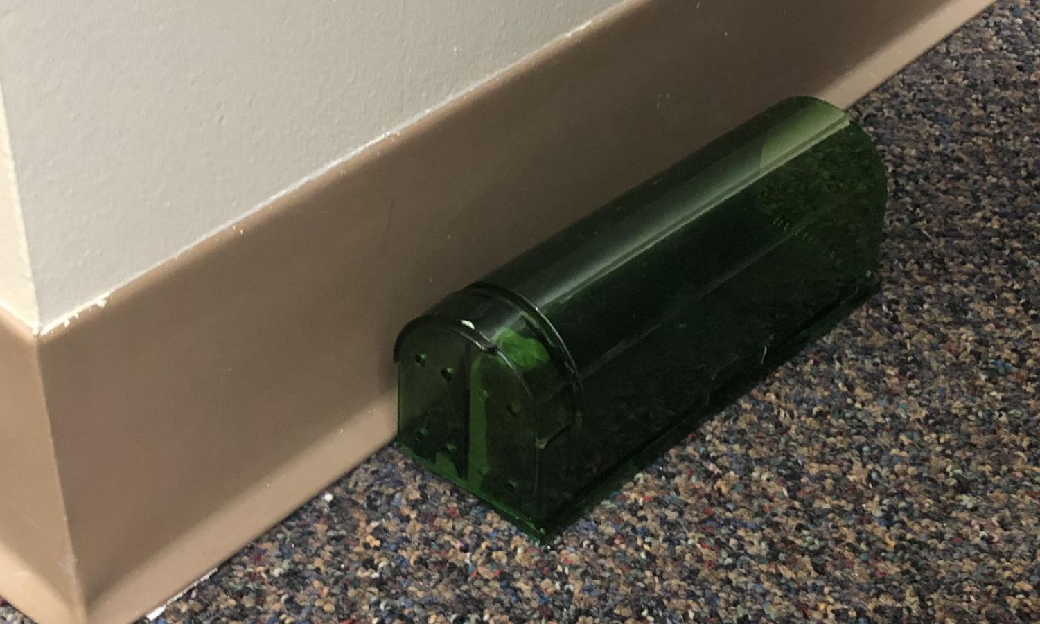 One of the many mouse traps around the school sits behind a chair in the Levitt Media Center. These mouse traps have caught five or six mice, according to Upper School Facilities Administrator Bill Belke.