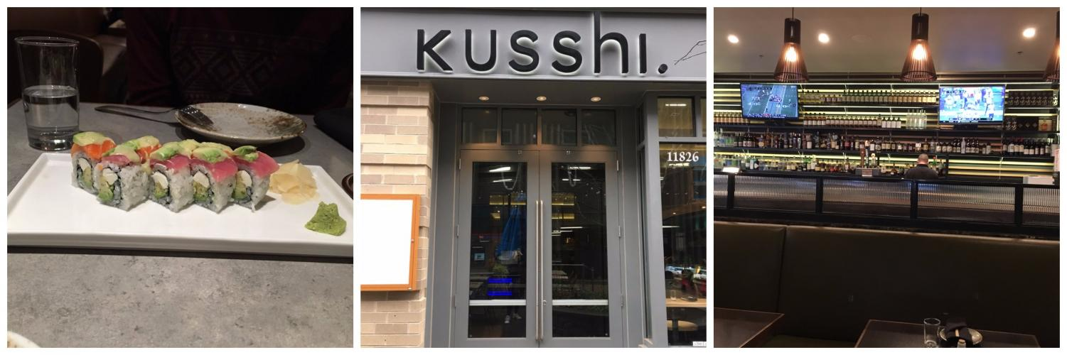 Kusshi's decor has a perfect balance of modern and Japanese aspects. For exam- ple, half of the restaurant is comprised of a sports bar with high tables and the other half is a sushi bar with booths and tables.