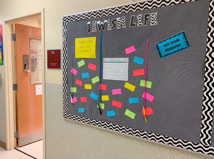 A+bulletin+board+outside+Director+of+Jewish+Life+Stephanie+Hoffman%27s+office+includes+a+month-long+calendar+of+activities+to+promote+the+%23kislevisforkindness+movement+and+suggestions+of+positive+actions+from+students.