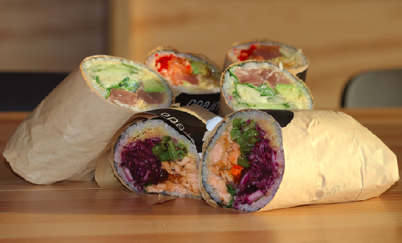 A new restaurant features a mix of sushi and burritos.