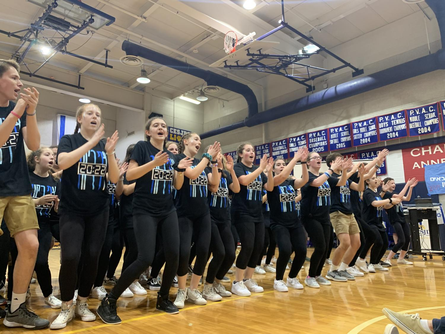 Freshmen perform in front of the entire Upper School at Zimriyah on Thursday.