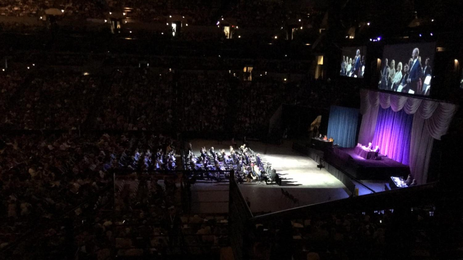Warren Buffet and Charlie Munger answer questions from the audience at the Berkshire Hathaway Annual Shareholder's Meeting.