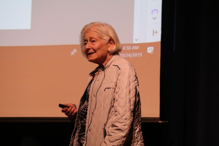 Holocaust survivor and activist Irene Butter Haseberg speaks to the entire high school student body during an assembly on Thursday.