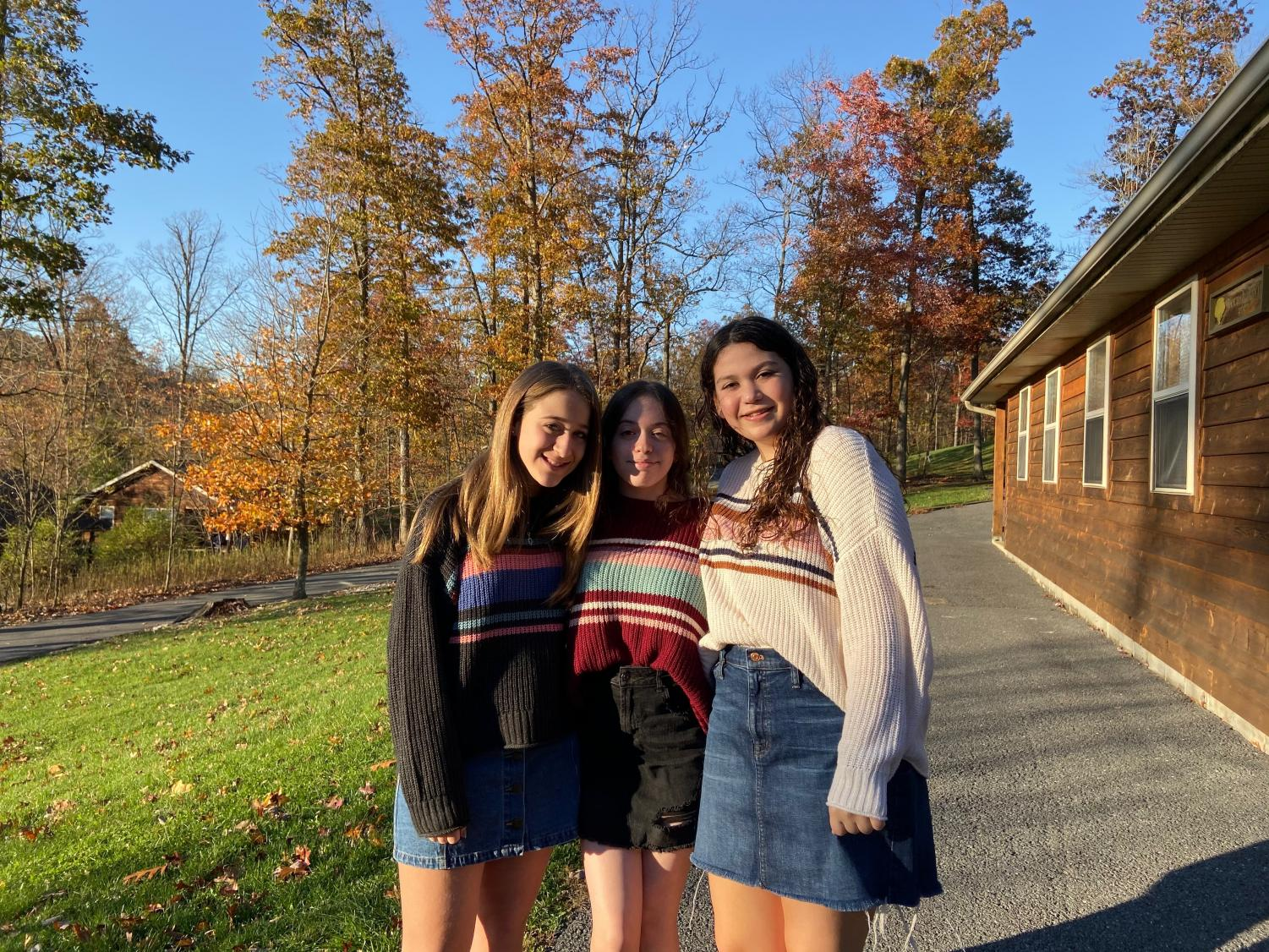 Freshmen Samantha Eidelman, Hadas Kabik and Samantha Vaisman enjoy their first Shabbaton.