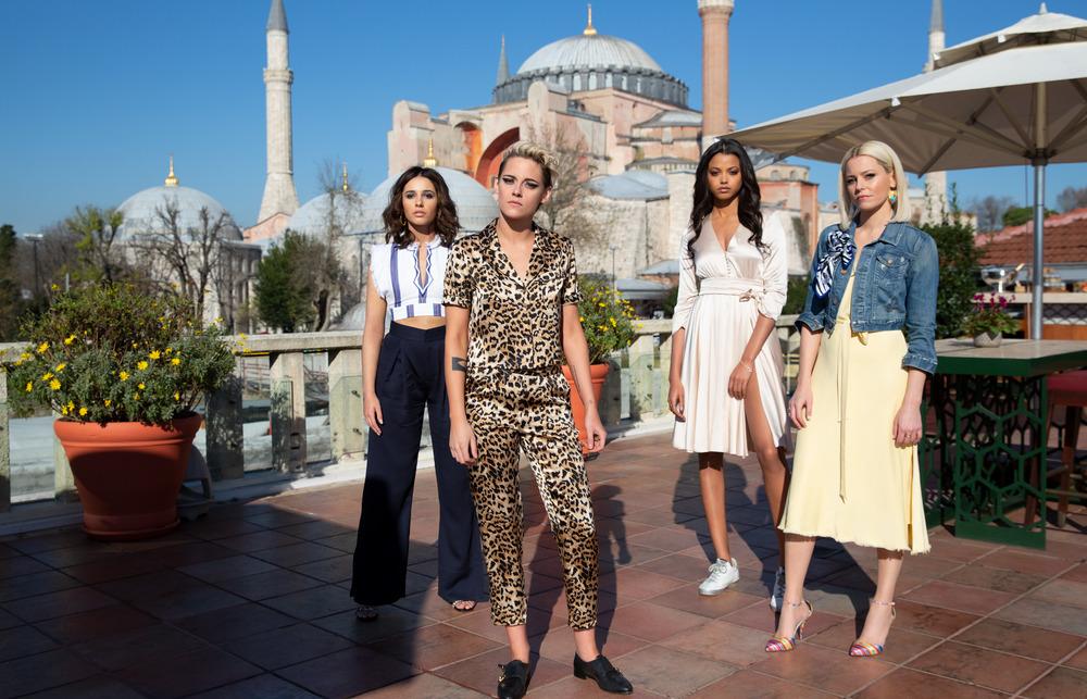 From left to right, Kristen Stewart, Naomi Scott, Ella Balinska and Elizabeth Banks, stars in Charlie's Angels, are shown.