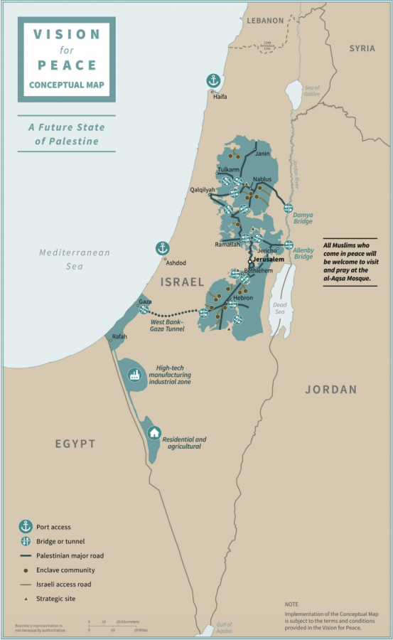 A conceptual map of Israel and Palestine under President Donald Trump and Israeli Prime Minister Benjamin Netanyahu's