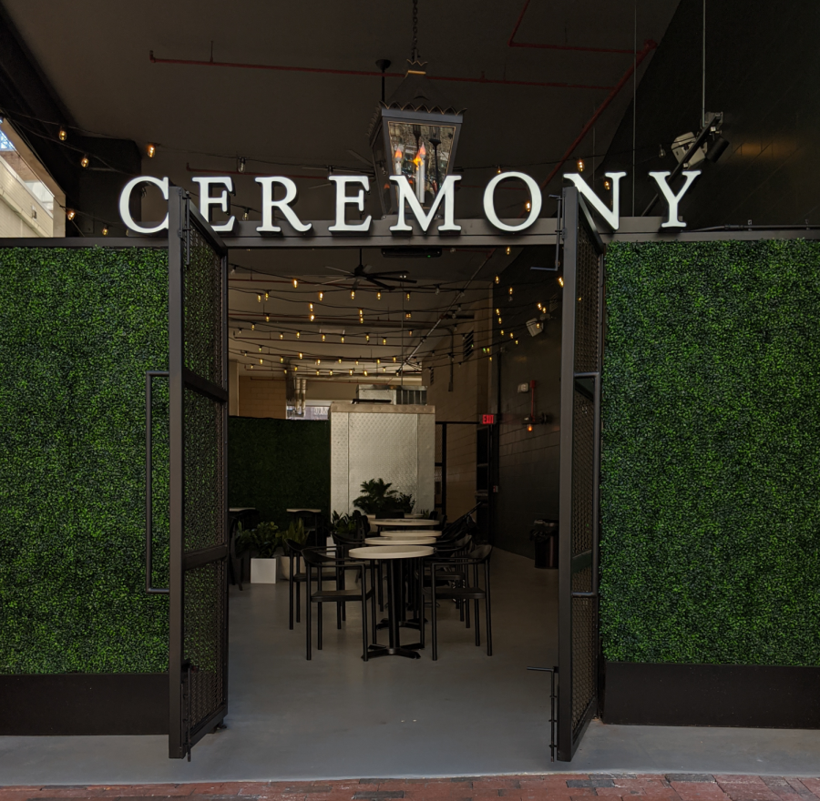 Maryland-based Ceremony Coffee's Bethesda location's entrance is lined with greenery to give it a more natural feel.