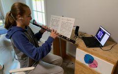 Freshman Darya Dayanim plays with her youth orchestra over Zoom.
