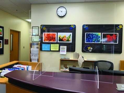 Plexiglass placed in main office and around school as a safety precaution with the return of in-person learning.