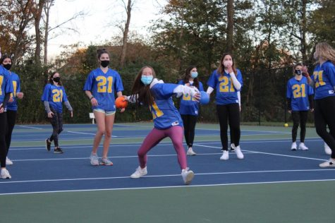 Senior and junior girls face off in socially-distant powderpuff