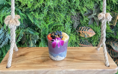 Abrams ordered a rainbow acai bowl with overnight oats and chia seed pudding.