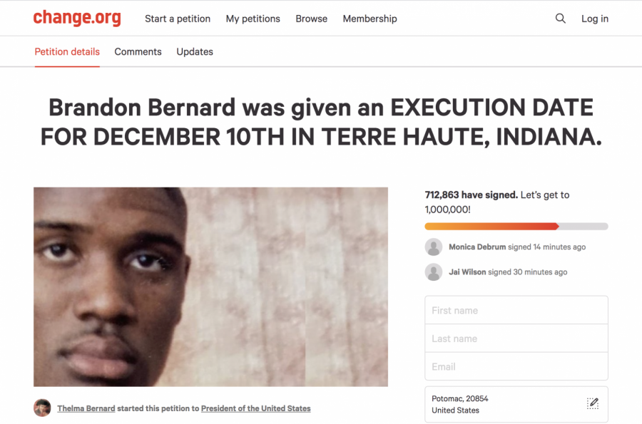 A Change.org petition for Brandon Bernard, whose execution caught the attention of the American public.