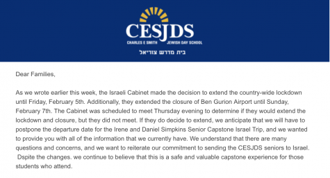 Landy sent out an email to families of seniors at 11:54 a.m. on Friday announcing that the Capstone Israel Trip would be delayed.