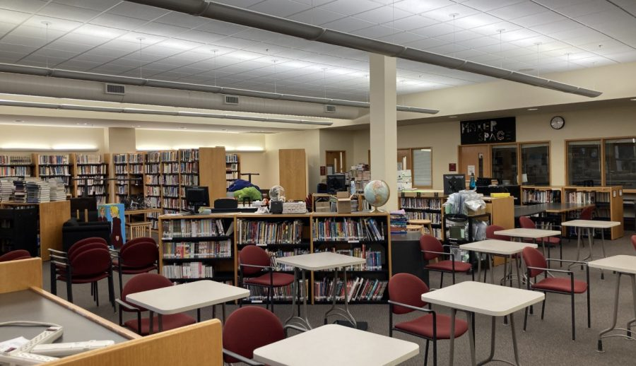 The Media Center, also known as the library, now  serves as a classroom for in-person school.