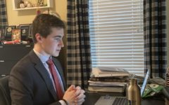 Junior Nathan Gershengorn dresses professionally for debates on Zoom, just as he would if debate was in-person.