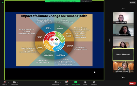 Guest speaker Dr. Akselrod presented a powerpoint about climate change on Zoom.