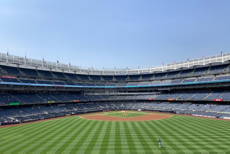 The Yankees Stadium full to the new capacity which abides by COVID-19 requirements.