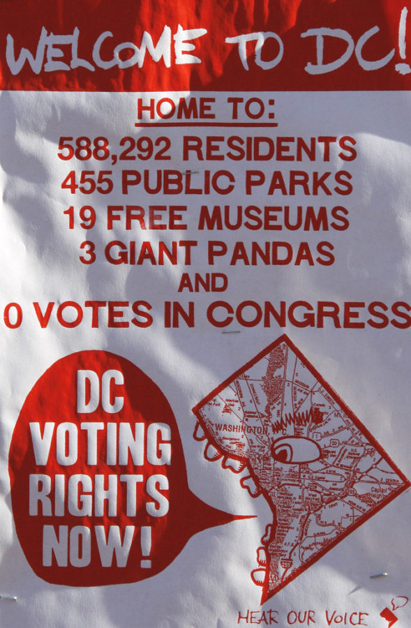 A flyer hangs demanding statehood for D.C. The House of Representatives passed a bill in favor of D.C. becoming a state.