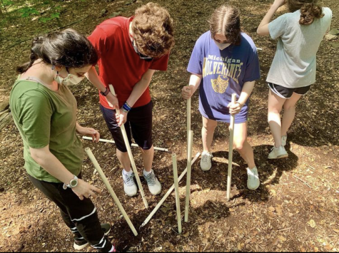 Ninth-graders work as a team on their first field trip in over a year at Calleva.