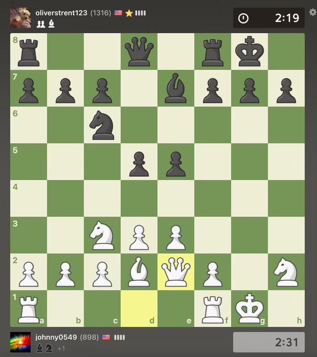 Chess club members play virtually using the online platform chess.com.