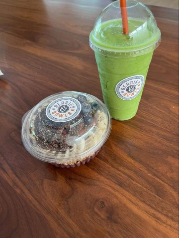 The Green machine smoothie, right, and the Rainforest bowl from Berries and Bowls